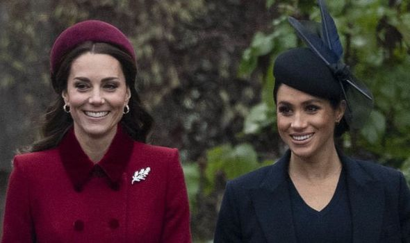 Meghan and Kate wear similar outfits to Christmas Day service at St Mary Magdalens Church Image Getty