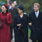 Meghan held her gloves in her hand and smiled as she linked arms with Prince Harry Kate waved at wellwishers who had come out to see them on Christmas morning