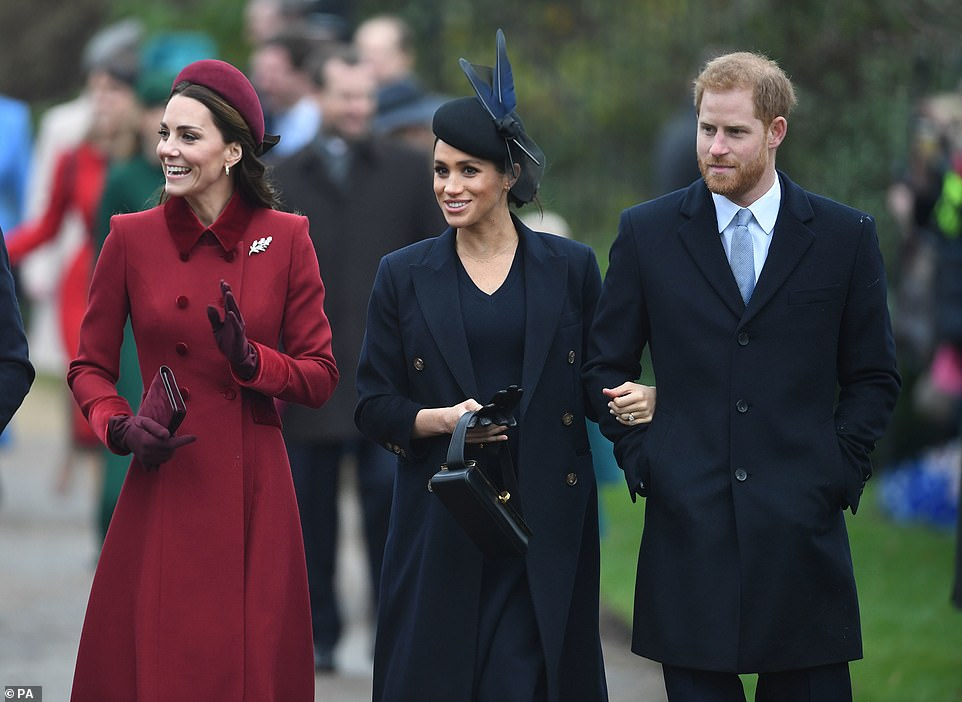 Kate and Meghan chatted to one another as they walked to the church this morning alongside husbands Prince Harry and Prince William
