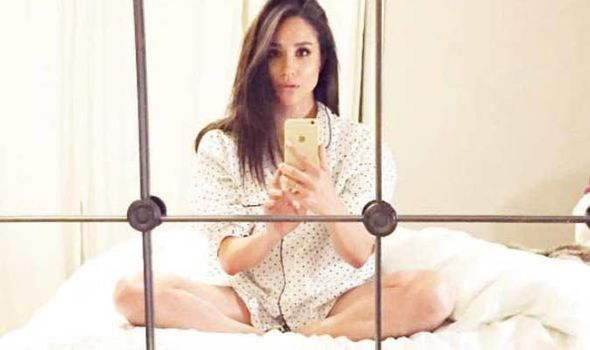 Meghan posted this selfie of her relaxing in her pyjamas on her bed while living in Toronto Image Instagram