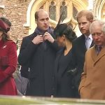 Meghan seemed to turn to her brother in law to say something as they left church at Sandringham on Christmas morning but William was more intent on fixing his scarf