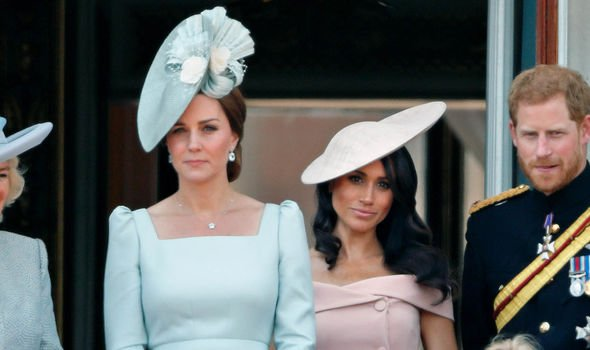 Meghan stood behind Kate and the Queen at Trooping of the Colour Image GETTY