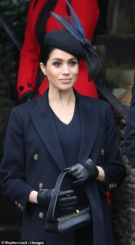 Meghan was seen leaving the church left after the Christmas Day service this morning