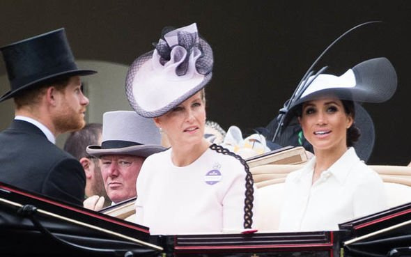 Meghan with the Countess of Wessex at the Royal Ascot Image GETTY