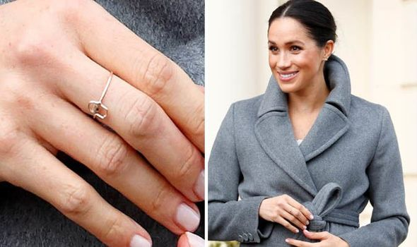 Meghan wore a Hamsa ring which represents good luck and protection from evil Image GETTY