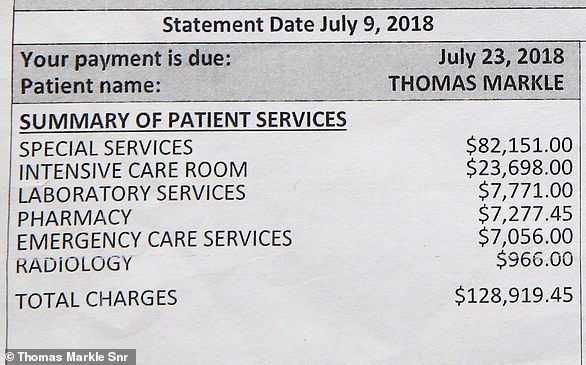 Mr Markle shared these documents including an expensive receipt from a California hospital as proof he suffered a heart attack
