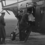 Newsreel images show the 37 year old leaving the RAF base by helicopter Image British Pathe