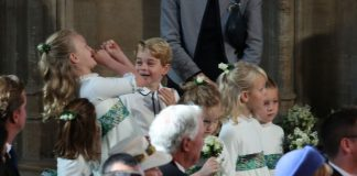 Prince George and his cousin Savannah stole the show with their playful antics at Eugenie's wedding in October Source Getty
