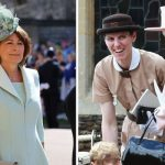 Prince Georges grandmother Carole Middleton Royal nanny Maria Borrallo smiles with the Queen Image Getty