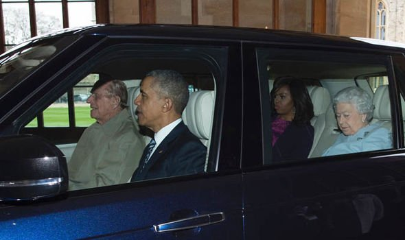 Prince Philip drove the Obamas to Windsor Castle during their visit in 2016 Image GETTY