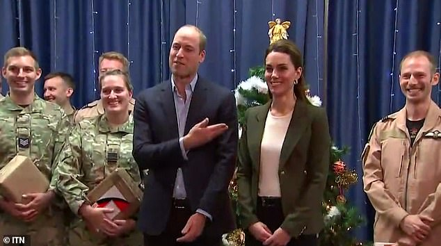 Prince William joked that wife Kate was dressed liked a Christmas tree during a visit to a RAF base in Cyprus on Tuesday
