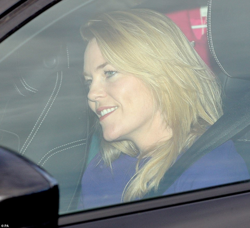 Princess Annes daughter in law Autumn Phillips donned a purple ensemble for the family gathering