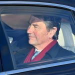 Princess Annes husband Vice Admiral Sir Timothy Lawrence pictured looked dapper in a red scarf