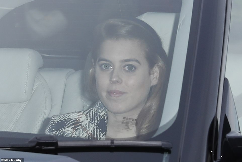 Princess Beatrice 30 arrived for the festive lunch after a night out in London hangout Annabels with friends