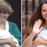 Princess Diana and Kate wearing similar outfits upon the birth of their first sons Image GETTY