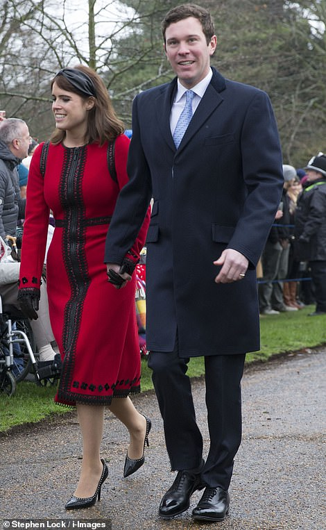 Princess Eugenie accompanied by her husband Jack Brooksbank wore a brighter outfit