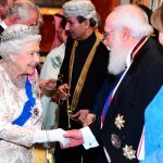 Queen Elizabeth II was also spotted as she greeted guests at an evening reception for members of the Diplomatic Corps at Buckingham Palace in London