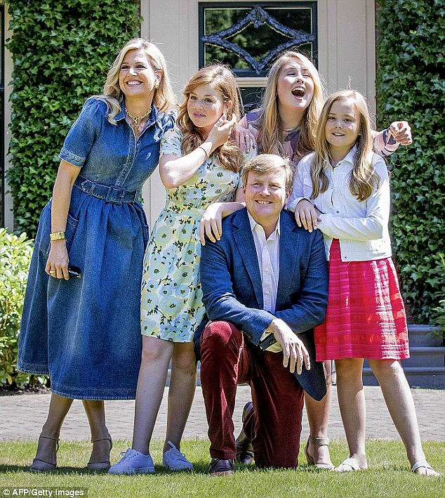Queen Maxima of the Netherlands posed for a set of fun family photos with husband King Willem Alexander and daughters Princess Catharina Amalia