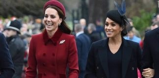 Royal Christmas 2018 Kate and Meghan walked to the church service together Image GETTY