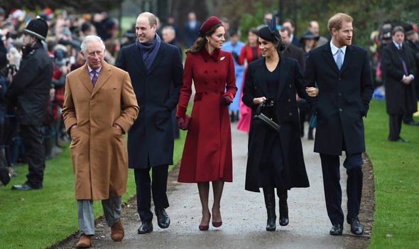 Royal Christmas PICTURES Meghan and Kate were pictured walking side by side Image GETTY