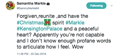 Samantha Markles Christmas Tweet To Meghan Is Literally The Worst Photo (C) CHRIS JACKSON/GETTY IMAGES ENTERTAINMENT/GETTY IMAGES & YOUTUBE