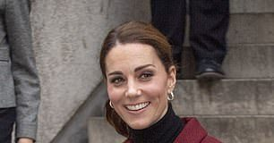 The Duchess in a recycled Paule Ka skirt suit at the UCL developmental neuroscience lab earlier this month