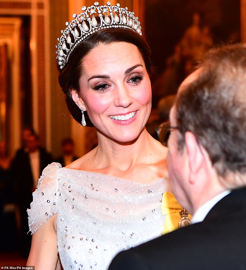 The Duchess of Cambridge appeared in excellent spirits beaming as she mingled with the guests at the lavish reception