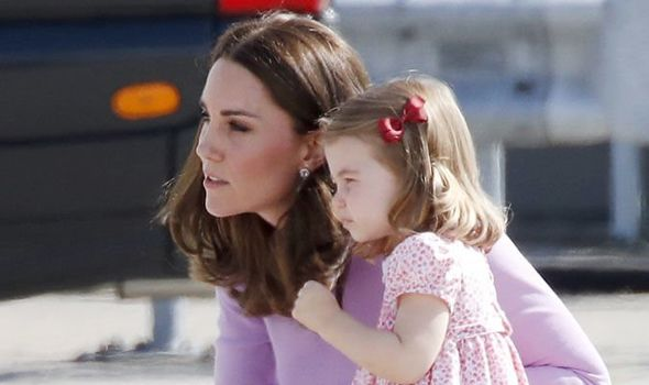 The Duchess of Cambridge rushed into the pub with Princess Charlotte last week Image GETTY