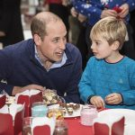 The Duke of Cambridge talks with five year old Harry OGrady at Kensington Palace yesterday where he hosted a party