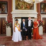 The Dutch royal 47 posed alongside King Willem President of Cape Verde Jorge Carlos Fonseca second left and his wife Ligia Fonseca far left