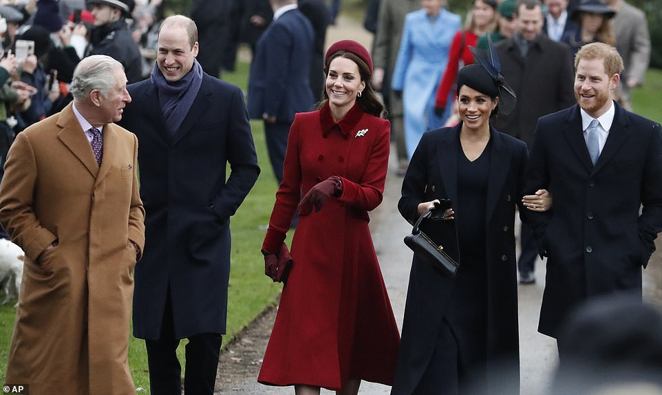 The Fab Four appear to share a joke with Prince Charles as they make their way to church They tried to quash rumours of a rift with the united front this morning