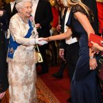 The Queen 92 looked regal in a white gown with delicate tiered lace overlay as she greeted the ambassador of Norway at the evening reception at Buckingham Palace
