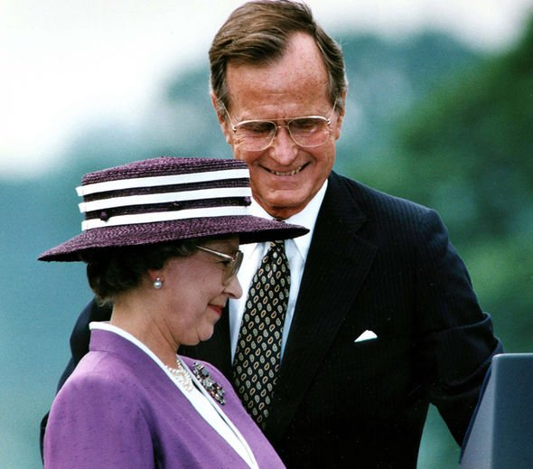 The Queen and President Bush in 1991 Image GETTY