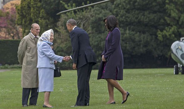 The Queen and Prince Philip welcoming the Obamas in 2016 Image GETTY