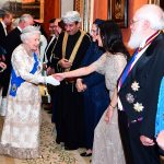 The Queen beamed as she was introduced to the esteemed guests invited to share in the festivities at Buckingham Palace