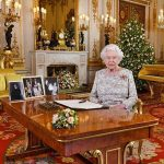 The Queen delivers her Christmas Day speech in the opulent Drawing Room at Buckingham Palace Image PA