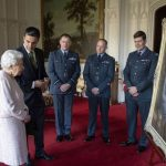 The Queen viewed a portrait of herself a gift from the RAF Image GETTY