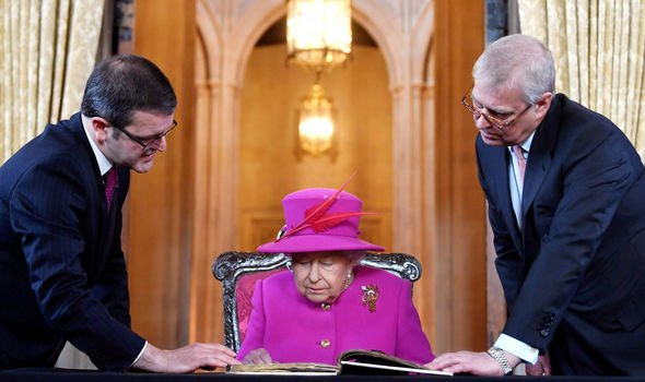 Queen news Queen Elizabeth was at Lincolns Inn with Prince Andrew today Image GETTY•PA
