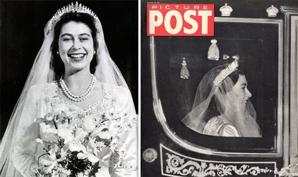 The Queens smiling wedding portrait in which she wears the tiara Image Getty