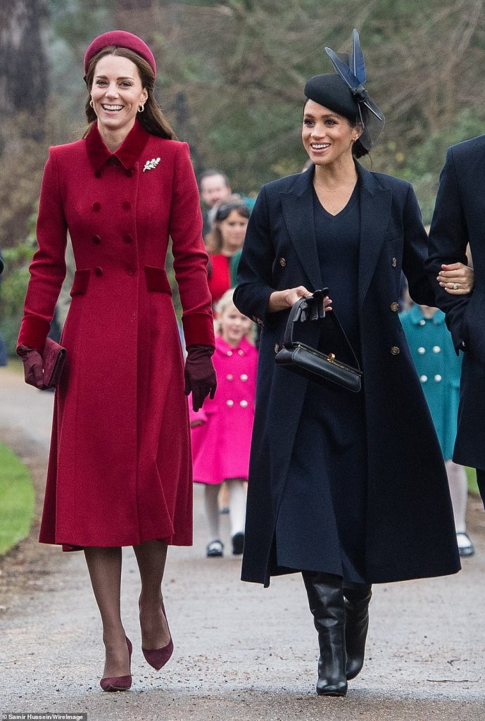 The duchess of Sussex and duchess of Cambridge appeared to be relaxed and happy in each others company