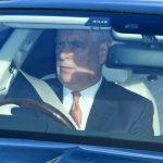 The monarchs son Prince Andrew who was one of the first to arrive was pictured behind the wheel of his car Photo C PA