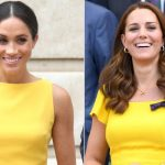 The pair both wore yellow dresses in the summer Image Getty