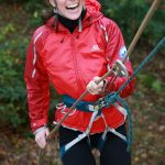 The stylish royal traded her designer labels for a harness to go abseiling with husband William in North Wales Photo C GETTY