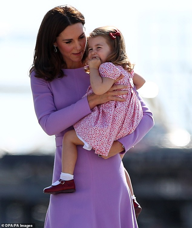 The three year old youngster pictured with her mother in July 2017 was led into the local boozer by her mother the Duchess of Cambridge who held her hand