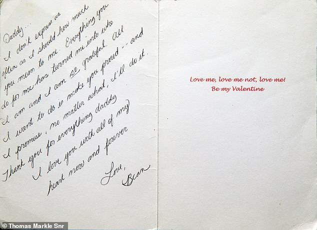 They are the words of love from a daughter who clearly adores her father In a Valentines card Meghan writes