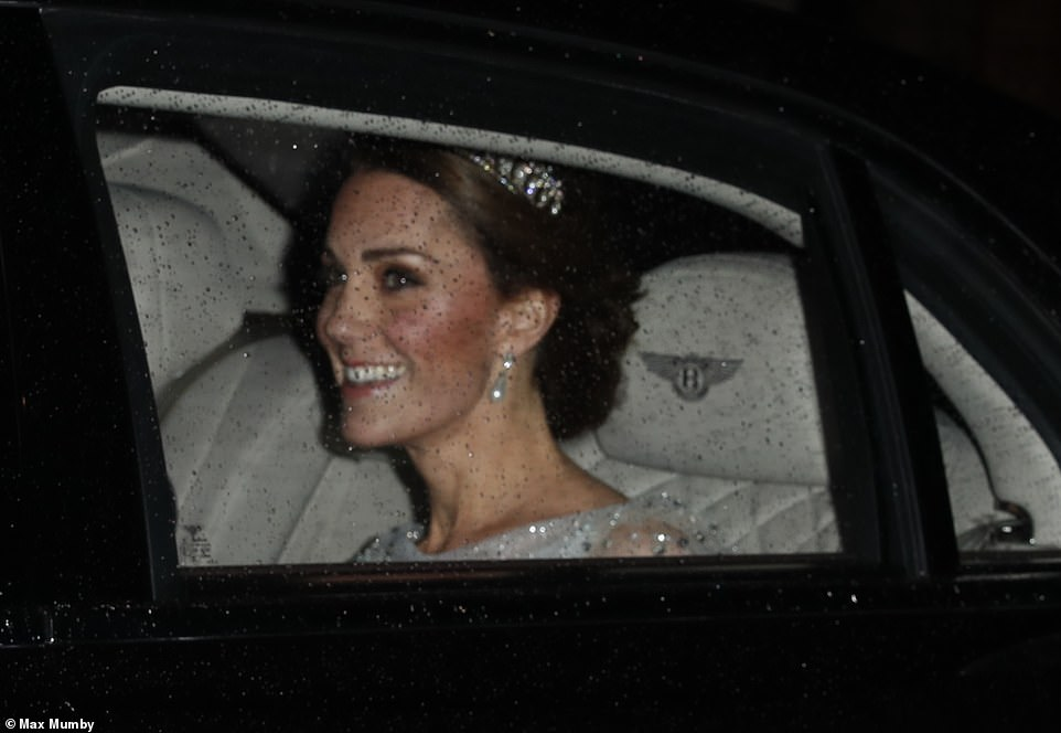 Though just a glimpse of Kates outfit could be seen through the car window as she arrived the duchess appeared to be wearing