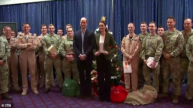 William and Kate were visiting servicemen and women at RAF Akrotiri to deliver them presents from their families back at home