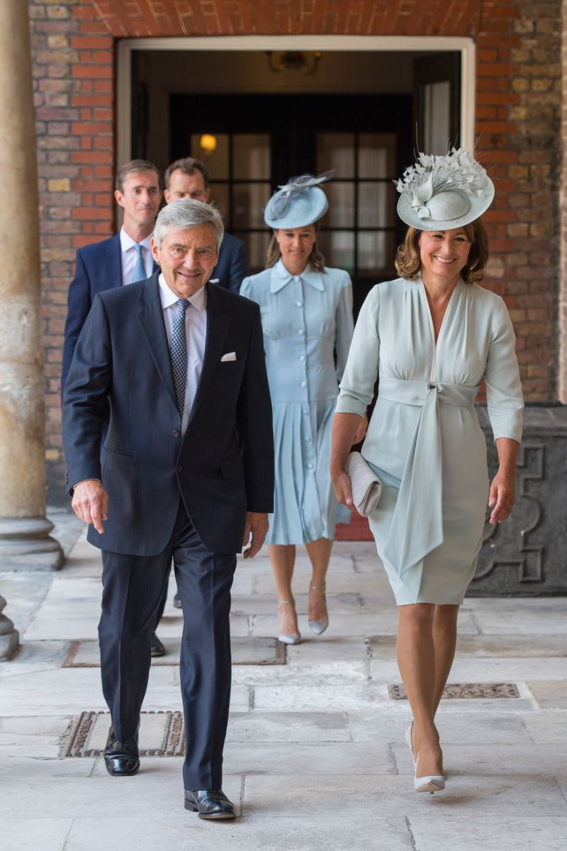 Carole and Michael Middleton arrive at the Lindo Wing after visiting their daughter Catherine Duchess Of Cambridge and newborn son George in 2013 Source Getty
