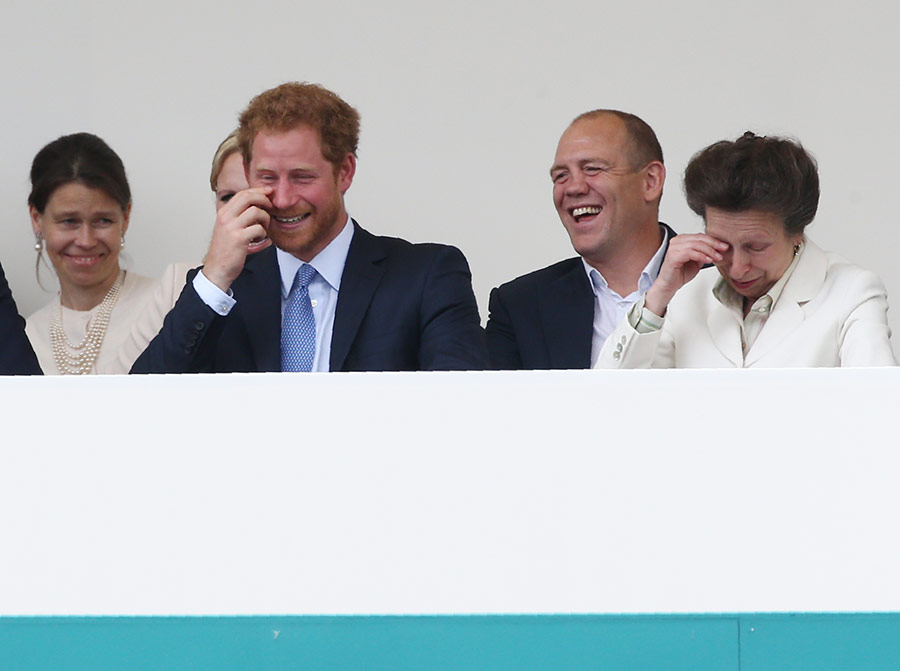 Prince Harry and Princess Anne get the giggles