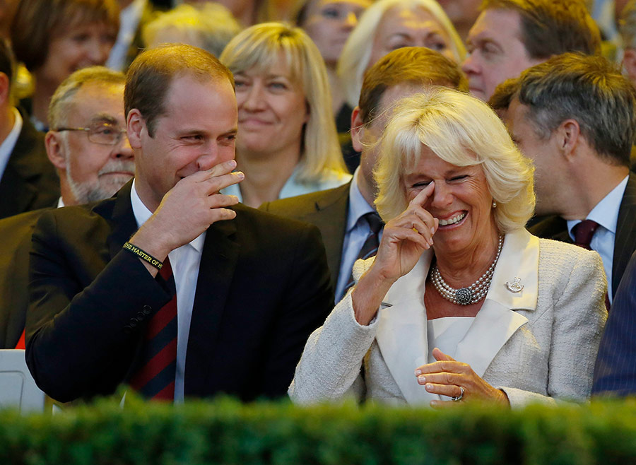 The Duchess of Cornwall crying with laugher